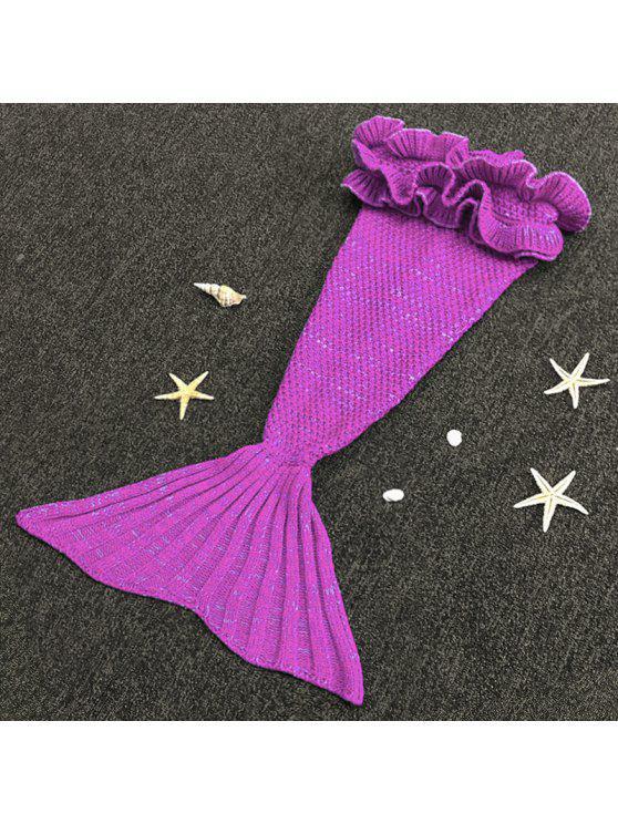 شيك الحياكة حورية البحر تصميم الطفل كيس النوم بطانية - أرجواني واحد الحجم (حجم صالح XS إلى M)