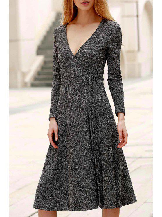 Pure Color Plongeant manches Long Neck Midi Dress - Gris 2XL
