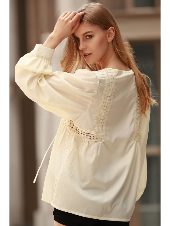 White Lace Up Jewel Neck Blusa manga comprida - Limeade M