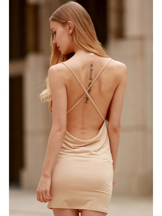 women Women Spaghetti Strap Backless Club Dress - KHAKI XL