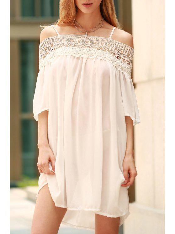 women Lace Splicing Boat Neck Spaghetti Straps Dress - WHITE XL