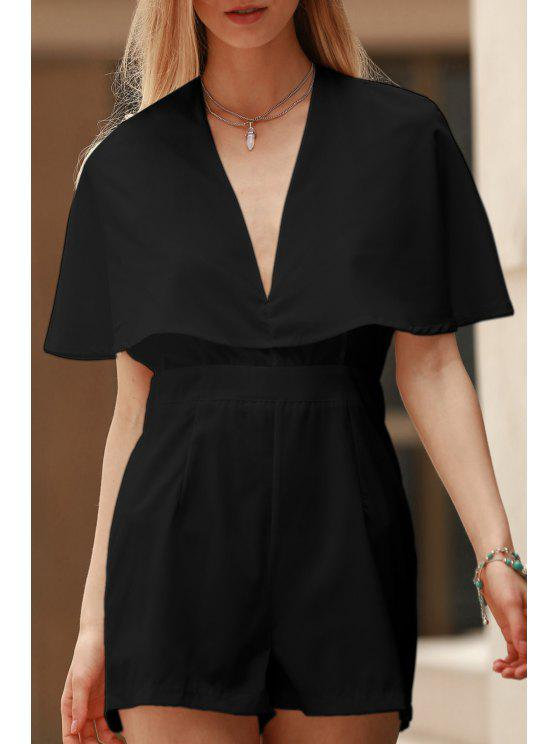 hot Solid Color Plunging Neck Bat-Wing Sleeve Romper - BLACK XL