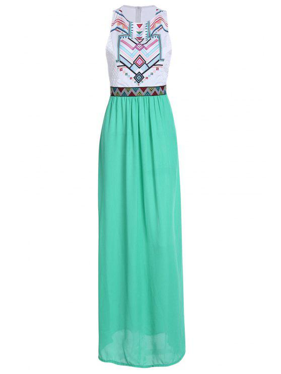 chic Geometric Print Splicing Sleeveless Maxi Dress - WHITE S