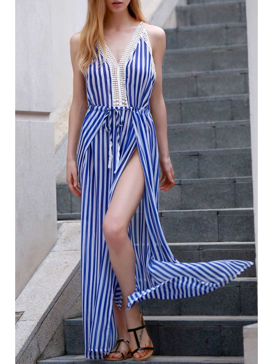 outfits Vertical Striped Slit Dress - BLUE AND WHITE XL