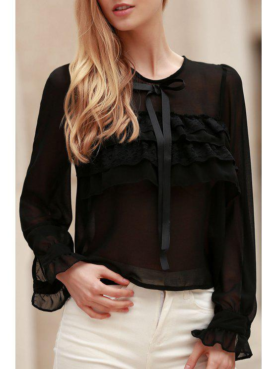 Bowknot embelezado See-Through Blusa - Preto L