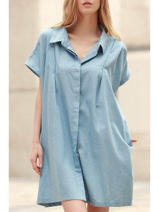 trendy Loose Retro Turn-Down Collar Short Sleeve Dress - LIGHT BLUE S