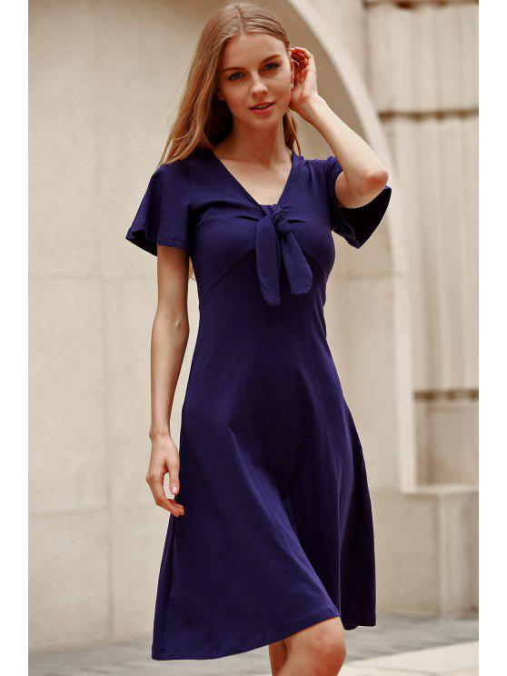 fashion Solid Color Plunging Neck Short Sleeve Midi Dress - NAVY BLUE L