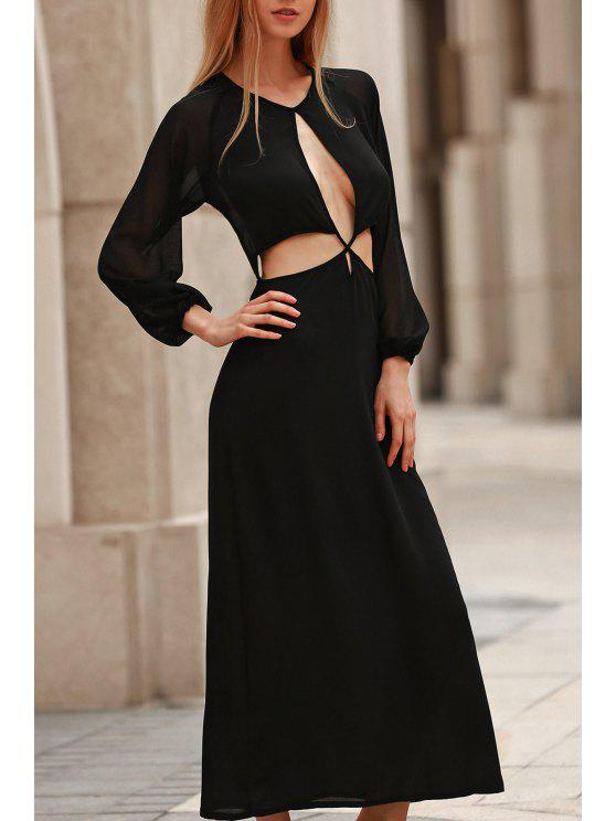 fashion Hollow Out Long Sleeve Backless Maxi Dress - BLACK S