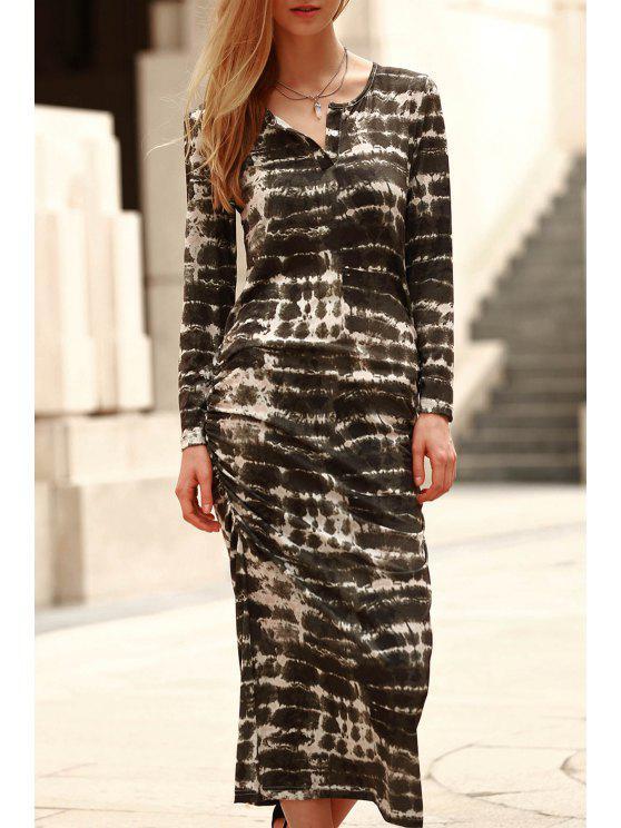shops Abstract Print Long Sleeve Bodycon Dress - GREEN L