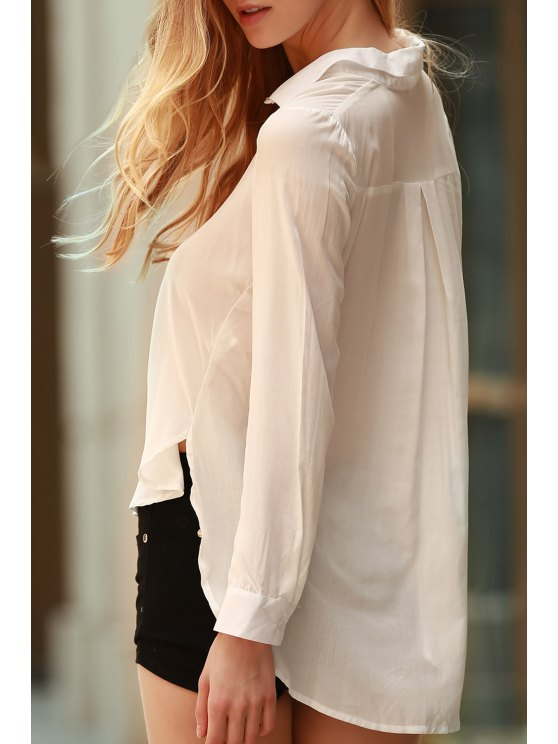 trendy White Side Slit Long Sleeve Shirt - WHITE M