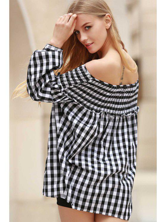 Plaid Pleated Scoop Neck Blouse manches longues - Blanc et Noir S