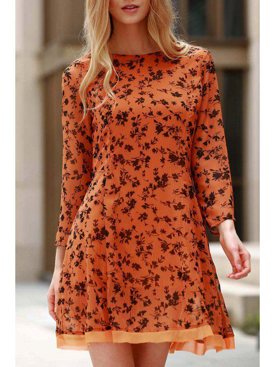 ladies 3/4 Sleeve Floral Print Flared Dress - YELLOW S