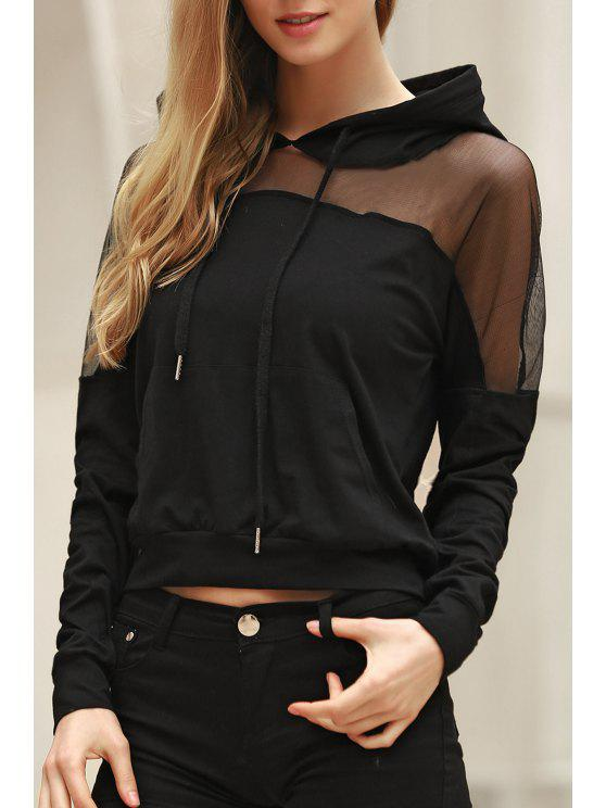 trendy Voile Spliced Hooded Long Sleeve Hoodie - BLACK S