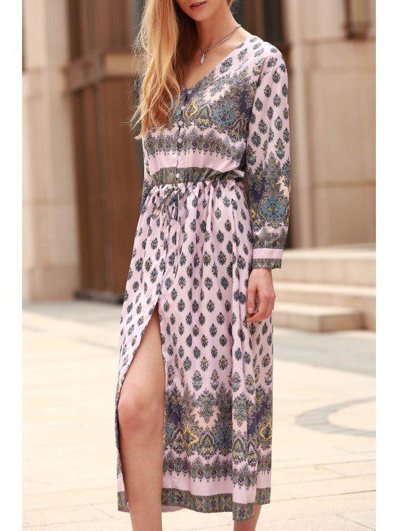 fashion Rolled Sleeve Printed Single-Breasted Dress - PINK M