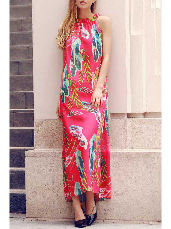 lady Flower Print Round Neck Sleeveless Chiffon Dress - RED S