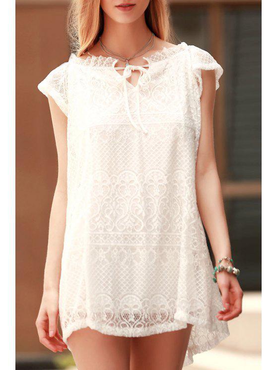 Robe couleur pure épaules dénudées - Blanc M