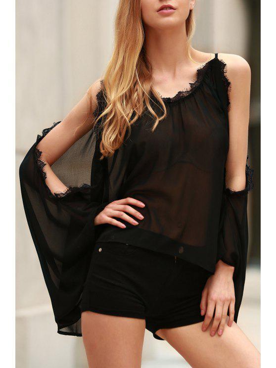 fashion Eyelash Lace Spliced Draped Blouse - BLACK 2XL