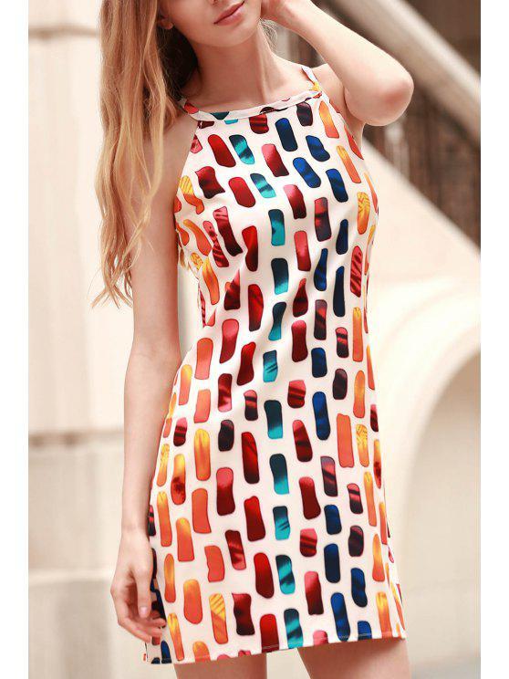 Impreso vestido halter de montaje floja - Colormix L