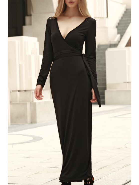 chic Self Tie Plunging Neck Long Sleeve Maxi Dress - BLACK S
