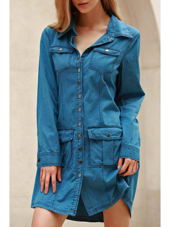 Denim Blue Turn Down Neck robe à manches longues - Bleu M