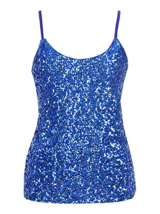 affordable Sequin Solid Color Spaghetti Straps Tank Top - SAPPHIRE BLUE ONE SIZE(FIT SIZE XS TO M)