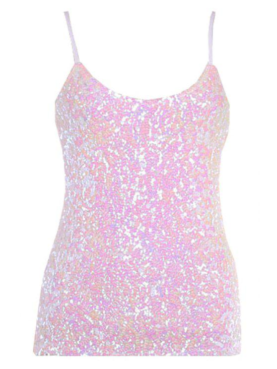 fancy Sequin Solid Color Spaghetti Straps Tank Top - PINK ONE SIZE(FIT SIZE XS TO M)