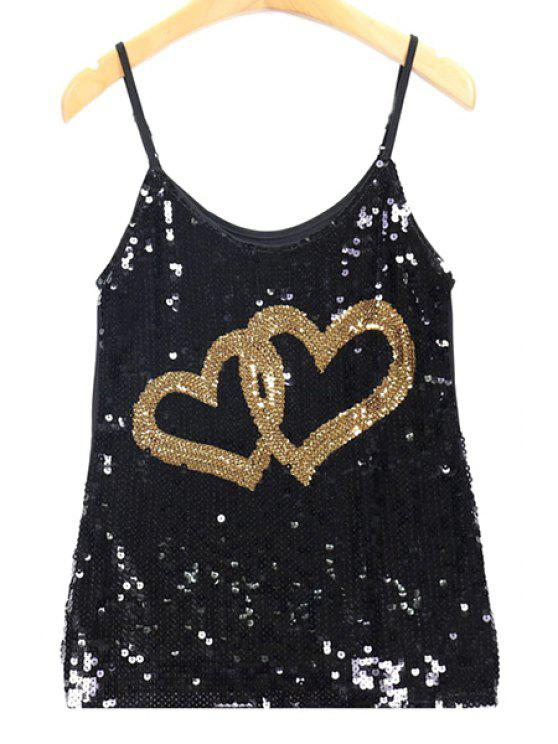 outfits Sequin Double Heart Pattern Cami Tank Top - GOLDEN ONE SIZE(FIT SIZE XS TO M)