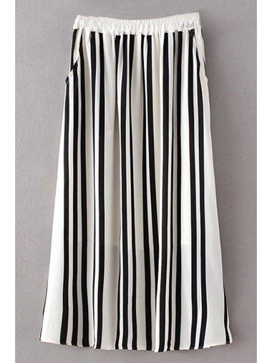 Raya de la alta cintura una falda de línea - Blanco y Negro S