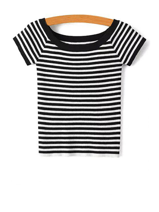 Slash Neck Striped Knit T-Shirt - Preto S
