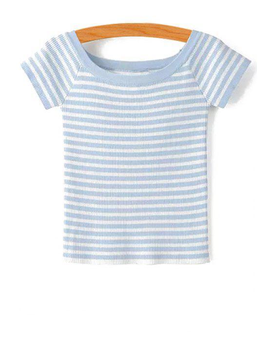 T-shirt tricoté rayé col plat - Bleu clair S