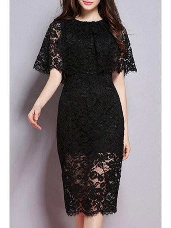 Dentelle robe col rond de couleur unie - Noir S