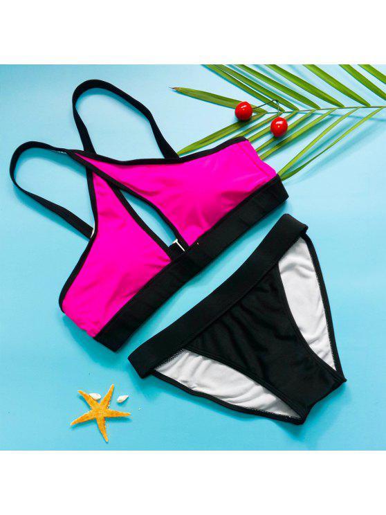fancy Spaghetti Strap Criss-Cross Padded Sports Bikini Set - ROSE M