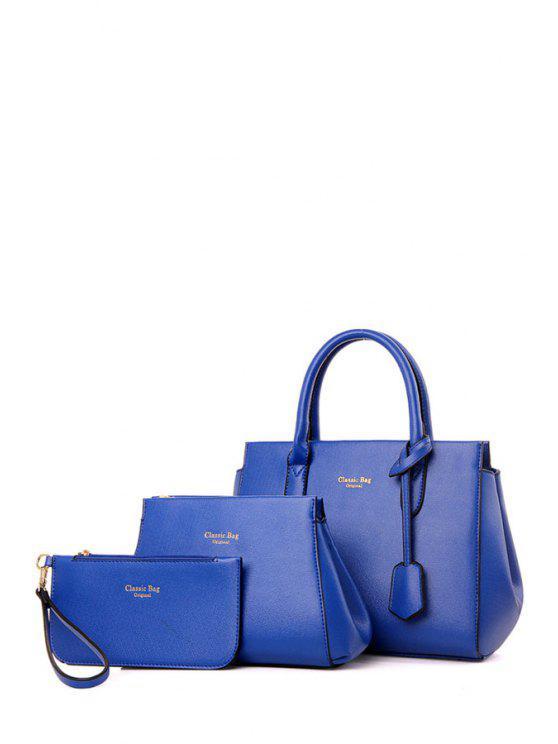 latest Letter Print Solid Color Tote Bag - BLUE
