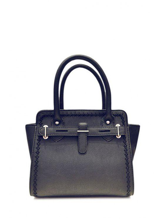 new Stitching Metal Solid Color Tote Bag - BLACK