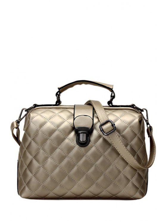 Fancy Checked Sching Push Lock Tote Bag Champagne Gold
