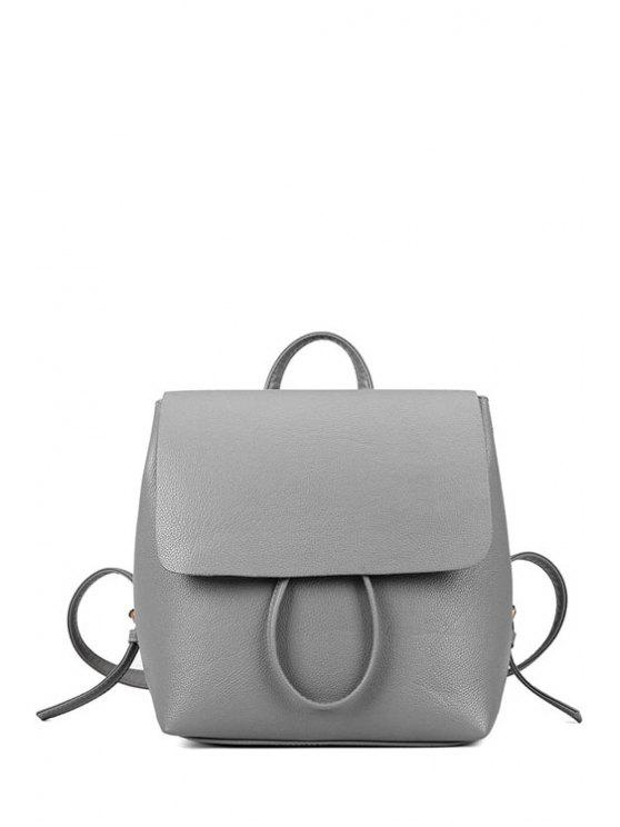 fashion Solid Color Cover PU Leather Satchel - LIGHT GRAY