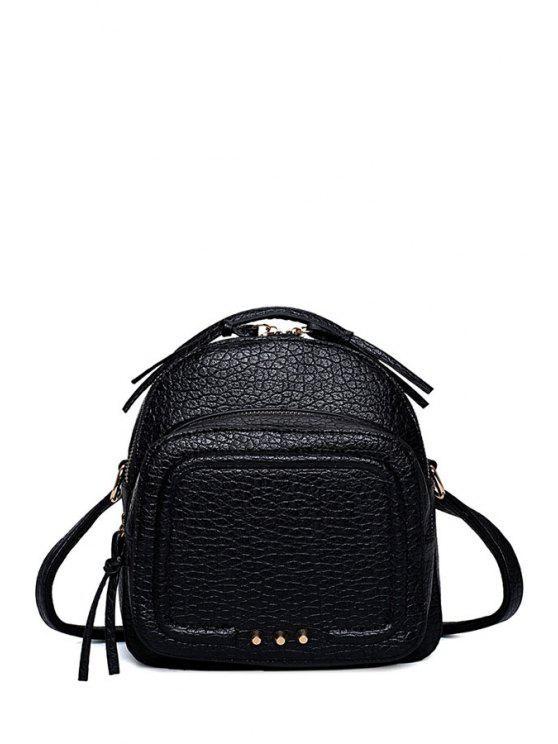 new Rivet PU Leather Solid Color Satchel - BLACK