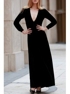 Black Velvet Plunging Neck Long Sleeve Dress - Black L