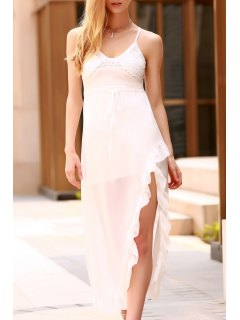 Lace Spliced Spaghetti Straps High Slit Dress - White M