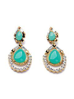 Pair Of Charming Faux Gemstone Water Drop Earrings For Women - Tiffany Blue