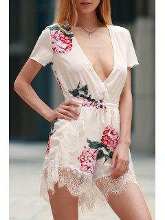 Floral Print Plunging Neck Short Sleeve Romper - White L