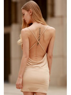 Women Spaghetti Strap Backless Club Dress - Khaki L