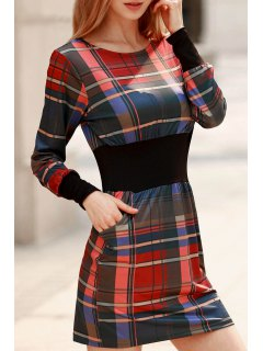 Vestido De Cuadro Con Cintura Delgada Con Manga Larga Con Cuello Redondo - Rojo M