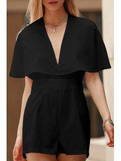 Solid Color Plunging Neck Bat-Wing Sleeve Romper - Black L