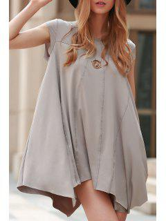 Irregular Hem Tunic Dress - Gray S