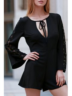 Black Lace Splicing Plunging Neck Long Sleeve Romper - Black 2xl