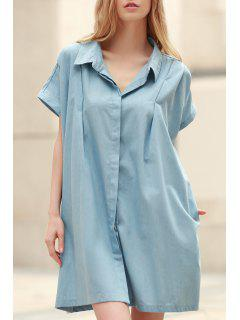 Loose Retro Turn-Down Collar Short Sleeve Dress - Light Blue S