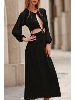 Hollow Out Long Sleeve Backless Maxi Dress - Black S