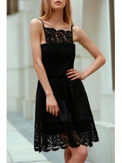Semi Formal Lace Spliced Cami Black Dress - Black Xl