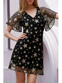 Star Print Plunging Neck Backless Dress - Black 2xl